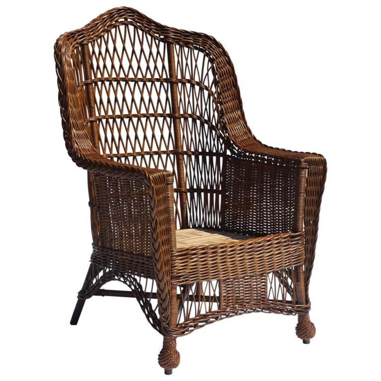 Antique Heywood-Wakefield Wicker Armchair - The Wicker Shop