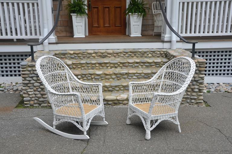 Vintage Bar Harbor Wicker Chair And Rocker The Wicker Shop